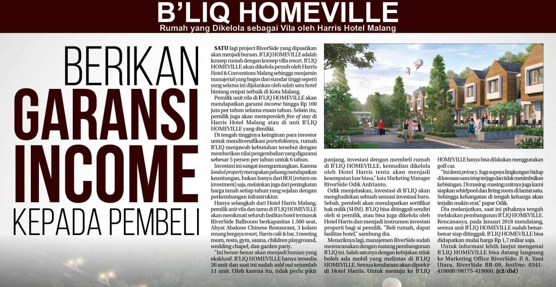 B'liq Homeville berikan Garansi Income